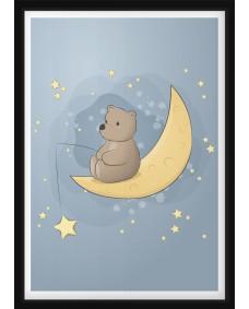 POSTER - Nallebjörn som fiskar stjärnor