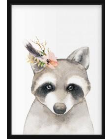 POSTER - Akvarell tvättbjörn