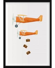 POSTER - Flygplan och resväskor