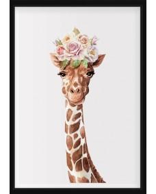 POSTER - Giraff med blommor på huvudet