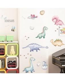 Väggdekor - Söta Dinosaurer i Akvarell