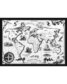 POSTER - Vintage världskarta