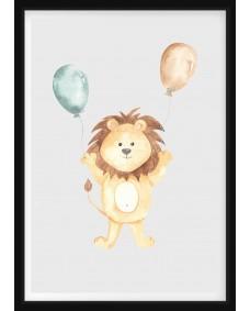 POSTER - Lejon med ballonger