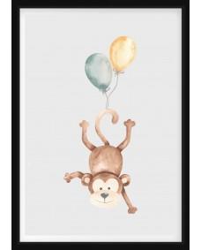 POSTER - Apa med ballonger
