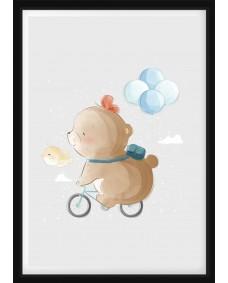 POSTER - Björn på cykel