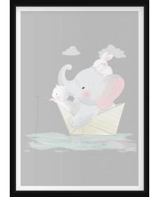 POSTER - Elefant i Pappersbåt