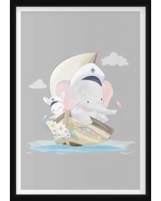 POSTER - Elefant i Segelbåt