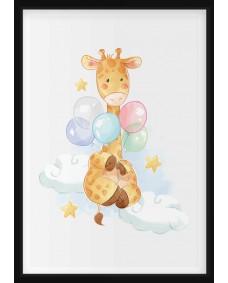 POSTER - Giraff med ballonger i akvarell