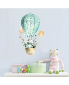 Väggdekor - Kanin med blommor i luftballong