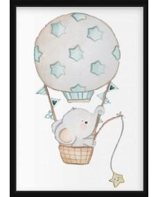 POSTER - Elefant i luftballong