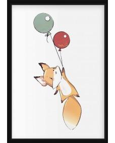 POSTER - Räv med ballonger