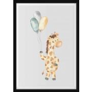 POSTER - Giraff med ballonger