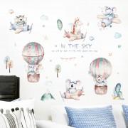 Väggdekor - Luftballonger, flygplan och djur i akvarell