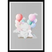 POSTER - Elefant på gunga med ballonger