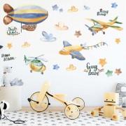 Väggdekor - Luftballong & Flygplan