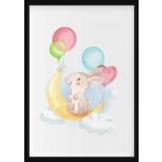 POSTER - Kanin med ballonger i akvarell