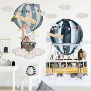 Väggdekor - Luftballong Med Djur