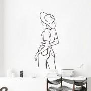 Väggdekor - Line art, tjej med hatt