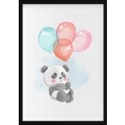 POSTER - Panda med ballonger i akvarell