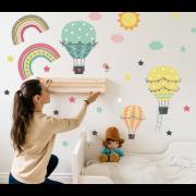 Väggdekor - Luftballonger och stjärnor